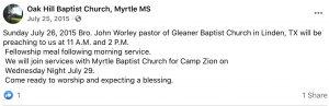 From Oak Wood Baptist Facebook post